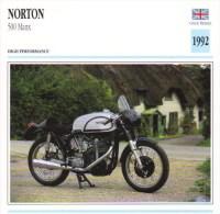 Norton 500cm Manx   - 1992   -  Fiche Technique Moto (Grande-Bretagne) - Schede Didattiche