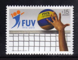 URUGUAY 2015 STAMP 1 Of 2 (Sports, Volleyball, FIVB, Centenaries, Balls, Hands, Net; Deportes, Voleybol, Faros) - Volleybal