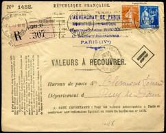 FRANCE - VALEURS RECOUVRÉES - N° 235 + 288 SUR LETTRE ENTIÈRE RECOMMANDÉE DE PARIS LE 7/2/1933  - TB - Lettres Taxées