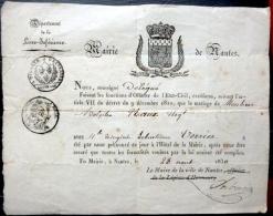 44  NANTES   ACTE DE MARIAGE DU 28 AOUT 1930 ENTRE Mr  PLAUX ET Mlle VERRIER  EMBLEMES ET CACHETS - Mariage