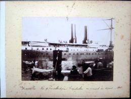 83 TOULON  4 PHOTOGRAPHIES ANCIENNES  1898 PORT BATEAUX  ET RADE