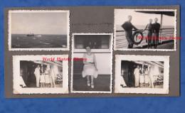5 Photos anciennes - � bord du Paquebot S/S CHENONCEAU - Entre SINGAPOUR & SAIGON - Messageries Maritimes - Bateau Boat