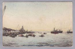 AK Asien China Shanghai Hafen 1909-07-07 über Siberien Nach Tettau DE - Chine