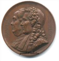 FRANKLIN E MONTYON BENEFATTORI UMANITÁ MEDAGLIA 1833 - Professionali/Di Società