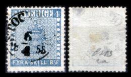 Svezia-008 - 1855 - Y&T: N, 2a (o) - Piccola Spellatura In Alto. - Suède