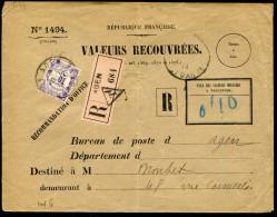 FRANCE - VALEURS RECOUVRÉES - TAXE N° 44 SUR LETTRE ENTIÈRE RECOMMANDÉE D'AGEN LE 20/12/1915  - TB - Lettres Taxées