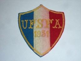 AVIRON BLASON FAIT MAIN - UFSFA 1931 - RARE - COQ FRANCE ECUSSON TISSU SPORT BATEAU - Aviron