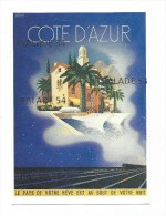 Reproduction Affiche Ancienne COTE D ´ AZUR - 1935 - Illustration De Roland HUGON (bateaux - Train - Batiments - Unclassified