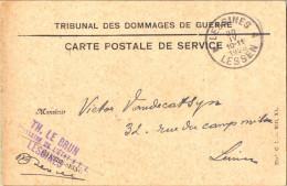 1p198: PORTVRIJDOM: ^ LESSINES ^ LESSEN 20 IV 10-11 1928: TRIBUNAL DES DOMMAGES DE GUERRE... Met CONTRE-SEING - Marcophilie