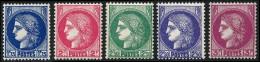 FRANCE 1938 - Yv. 372, 373, 375, 375A, 376 ** TB  Cote= 8,00 EUR - Type Cérès (5 Val.) ..Réf.FRA26897 - Francia