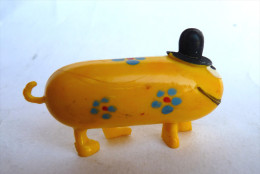 RARE FIGURINE ORTF JIM SHADOK GIBI ORANGE JAUNE AVEC SA QUEUE - SHADOKS 1969 - Figurines