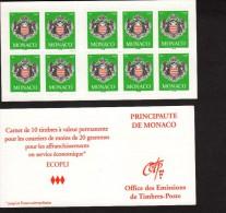 MONACO--Carnet  Complet N° 14  TVP Vert Ecopli --Philaposte 2005-- Autocollant - Carnets