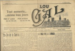"""1° Janvier 1919 - """"LOU GAL"""" - Bimensuel En LANGUEDOCIEN - Imprimé à Montpellier - Historical Documents"""