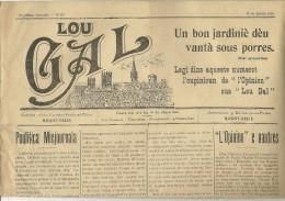 """15 Janvier 1919 - """"LOU GAL"""" - Bimensuel En LANGUEDOCIEN - Imprimé à Montpellier - Historical Documents"""