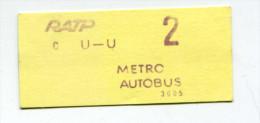 Ticket de m�tro et autobus parisien ann�es 70 - RATP - M�tropolitain - Paris - Subway - Billet de train - Railway
