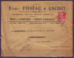 Mne DE GANDON 15f Rouge PERFORE  V F  Sur Enveloppe PUB Fabrique HORLOGERIE Le 17 X 1950 Griffe  LINEAIRE  AVIGNON - Perforés