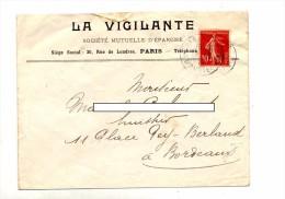 Lettre Cachet Paris Sur Semeuse  Entete Vigilante - Postmark Collection (Covers)