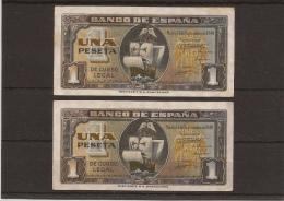 1940 PAREJA BILLETES ESPAÑA 1 PESETA EBC SERIE CONSECUTIVA RRR - [ 3] 1936-1975 : Régimen De Franco