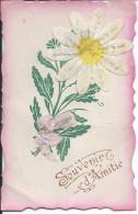 CPA SOUVENIR D'AMITIES (1916) Marguerite Et Noeud En Tissus - Gruss Aus.../ Grüsse Aus...