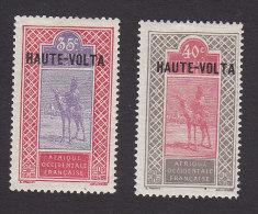 Upper Volta, Scott #17-18, Mint Hinged, Camel With Rider Overprinted, Issued 1920 - Upper Volta (1920-1932)