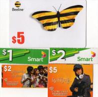 RECHARGES GSM  CAMBODGE  1/2/5$   Beeline/Smart/Cellcard  (lot De 5) - Cambodia