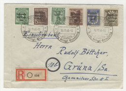 SBZ Michel No. 187 , 200 , 203 , 205 - 206 , 207 auf Brief