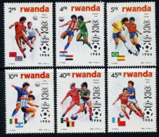 RWANDA 1986 - Coupe Du Monde De Football, Mexico 86 - 6 Val Neuf // Mnh - Ruanda