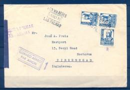 1938 GUERRA CIVIL, CANARIAS, CORREO AÉREO, LAS PALMAS - BIRKENHEAD, CENSURA MILITAR, BANDA DE APERTURA DE CENSURA - 1931-Heute: 2. Rep. - ... Juan Carlos I