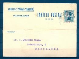 1932 GUADALAJARA, TARJETA POSTAL COMERCIAL, CIRCULADA A BARCELONA, MATASELLOS DE GUADALAJARA - 1931-50 Storia Postale