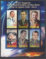 RWANDA 2011 - Yuri Gagarin - Feuillet De 6 Val ND Neuf // Mnh Imperforated - Rwanda