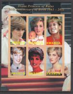RWANDA 2011 - Princesse De Galles, Lady Diana - Feuillet De 6 Val ND Neuf // Mnh Imperforated - 1990-99: Neufs