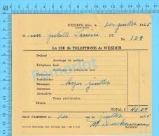 """Facture 1965 à ( Mme Juliette Larrivée """"  Par La Cie De Téléphone De Weedon P. Quebec Canada"""" ) - Canada"""