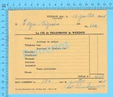 """Facture 1965 à ( M. Edgar Giguere """"  Par La Cie De Téléphone De Weedon P. Quebec Canada"""" ) - Canada"""