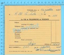 """Facture 1965 à ( Hotel La Salle """"  Par La Cie De Téléphone De Weedon P. Quebec Canada"""" ) - Canada"""