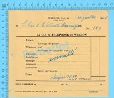 """Facture 1965 à ( La Cie D'Électricité Shawinigan""""  Par La Cie De Téléphone De Weedon P. Quebec Canada"""" ) - Canada"""