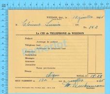 """Facture 1965 à ( M. Clément Lussier """"  Par La Cie De Téléphone De Weedon P. Quebec Canada"""" ) - Canada"""