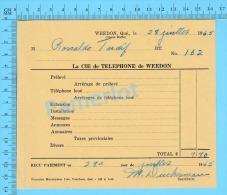 """Facture 1965 à ( M. Rénaldo Tardif  """"  Par La Cie De Téléphone De Weedon P. Quebec Canada"""" ) - Canada"""