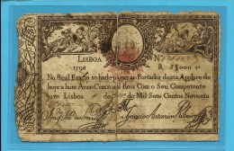 PORTUGAL - APÓLICE 5$000 - 5.000 RÉIS - 1798 ( 1826 ) - P 24 ( ? ) - D. PEDRO IV - WAR OF THE TWO BROTHERS - Portugal