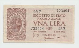 ITALY 1 Lire 1944 AVF+ Pick 29b 29 B - Italia – 1 Lira