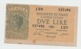 Italy 2 Lire 1944 VF+ Pick 30a  30 A - [ 1] …-1946 : Koninkrijk