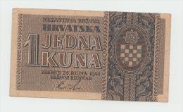 CROATIA 1 Kuna Banknote 1942 VF+ Pick 7 - Croatia