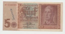 GERMANY NAZI 5 Reichsmark 1942 VF+ Pick 186a 186 A - 5 Reichsmark