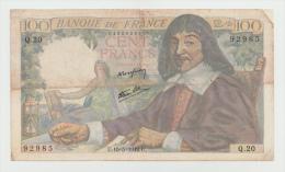 FRANCE 100 FRANCS 1942 VG+ P 101a 101 A - 100 F 1942-1944 ''Descartes''