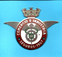 Chapa De Seguros Auto 1907 - COMERCIO E INDUSTRIA - ADVERTISING - From PORTUGAL- 2 Scans - Verzekeringen