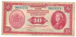 Netherland Indies, 10 Gulden 1943, F/VF.  RARE,  FREE SHIP. TO USA. - Dutch East Indies