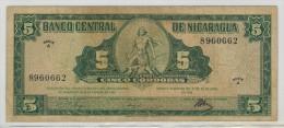 Nicaragua, 5 Cord. 1962, VF,  RARE,  FREE SHIP. TO USA. - Nicaragua
