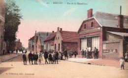 Cpa  59  Bertry..rue De La Republique..belle Animations Colorisee - France