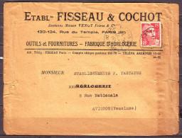 Mne DE GANDON 15f Rouge PERFORE  V F  Sur Enveloppe PUB Fabrique HORLOGERIE Le 17 1 1951 Pour AVIGNON - Perforés