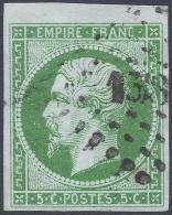 FRANCE 1854 5c GREEN ON GREEN PAPER Nº 12c  A GEM