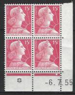 "Coins Datés Yt 1011 "" Marianne Muller 15F Rose-carminé "" 1955 Neuf - 1950-1959"